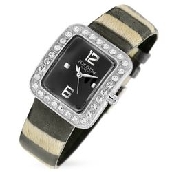 Vanilla Swarovski Crystal & Black Calf-Hair Dress Watch