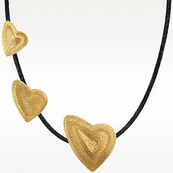 Golden Silver Triple Heart Choker Necklace