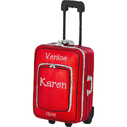 Personalized Red Roller Bag Suitcase Ornament