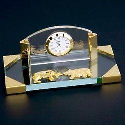 Glass Bull & Bear Desk Clock