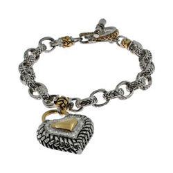Designer Inspired Heart Link Sterling Silver Toggle Bracelet