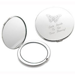 Personalized Butterfly Silver Compact Mirror