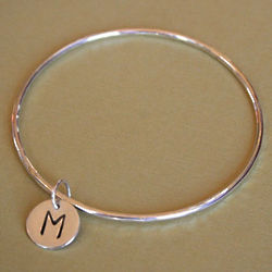 Sterling Silver Initial Charm Bangle
