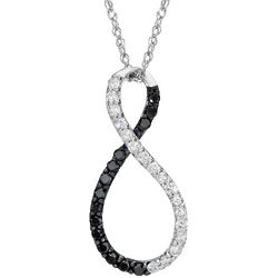 14K White Gold Black and White Diamond Infinity Pendant