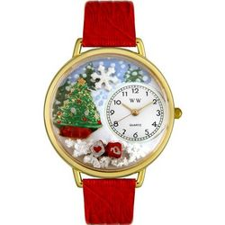 Christmas Tree Red Leather Band Watch