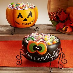 Personalized Halloween Treat Bowl with Stand