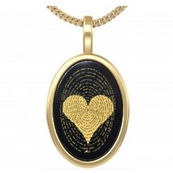 I Love You in 120 Languages Onyx 14K Gold Necklace