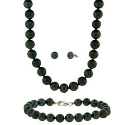 Black Freshwater Pearl Necklace, Bracelet, and Earrings