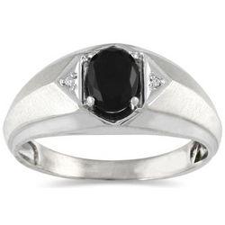 Men's Onyx and Diamond Ring in 10 Karat White Gold