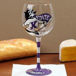 Kansas State Wildcats Hand-Painted Wine Glass