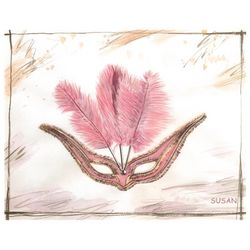 Pink Ballroom Mask Watercolor Personalized Art Print