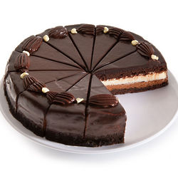 White and Dark Chocolate Mousse Cake