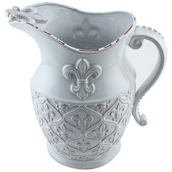 Aged White Glazed Terracotta Fleur-de-lis-Pitcher