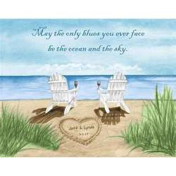 Ocean Leisure Chairs II Personalized Art Print
