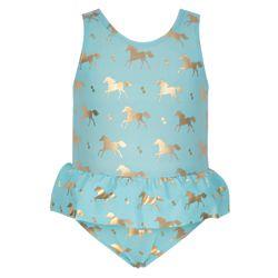 Baby or Toddler's Gold Horse Skirt Swimsuit