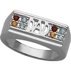 Men's Platinum Plated Dad Family Birthstone Ring