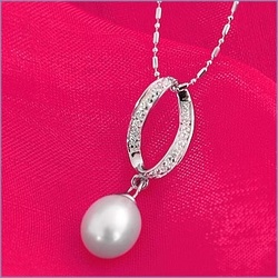 White Pearl Drop Bridal Necklace