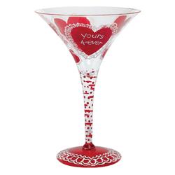 Homemade Valentine Hand-painted Martini Glass