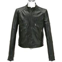 Black Italian Leather Motorcycle Zip Jacket