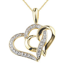 Double Heart Diamond Pendant in 14K Yellow Gold
