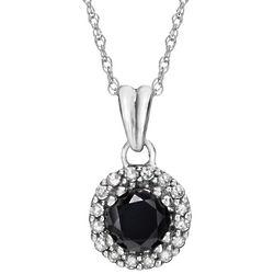 14K White Gold Black and White Diamond Pendant
