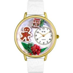 Christmas Gingerbread White Leather Band Watch