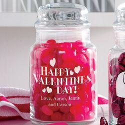 Personalized Happy Valentine's Day Treat Jar
