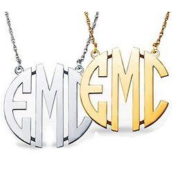 Large Block Letter Monogram Necklace