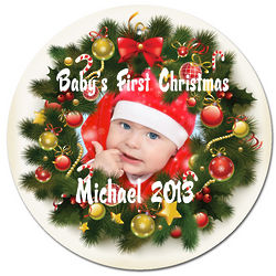 Personalized Photo Christmas Wreath Ornament