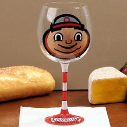 Ohio State Buckeyes Hand-Painted Wine Glass