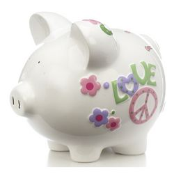 Personalized Peace and Love Piggy Bank