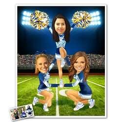 Personalized Cheerleaders Caricature Art Print