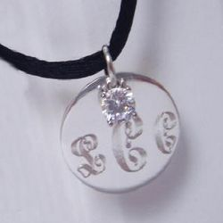 Monogrammed Circle of Love Pendant with CZ Dangling Charm