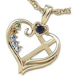10K Mother's Birthstone Heart Cross Pendant