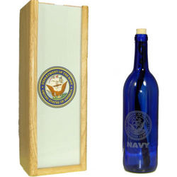 Personalized Navy Message Bottle with Gift Box