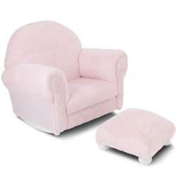 Chenille Rocker and Ottoman in Pink