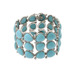 Exquisite Triple Row Sterling Silver Turquoise Bracelet