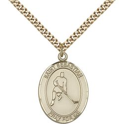 Gold Filled St. Sebastian/Ice Hockey Pendant with Chain