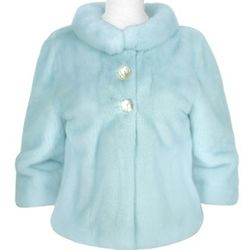 Light Blue Mink Fur Two-Button Jacket