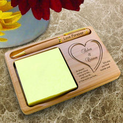 Personalized Always Beside You Wooden Notepad And Pen Holder