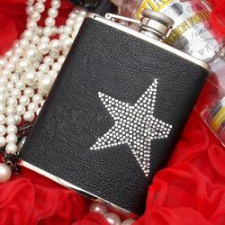 Star Studded Leather Hip Flask