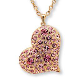 Rosetone Pink Crystal Gold-Plated Heart Pendant