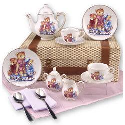 Child's Porcelain Teddy Bear Tea Set for 2