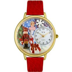 Christmas Nutcracker Red Leather Band Watch