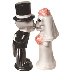 Love Never Dies Skeleton Wedding Magnetic Salt and Pepper Shaker