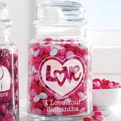 Personalized Love in Heart Valentine Treat Jar