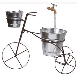 Tricycle Planter Fountain with Galvanized Bucket