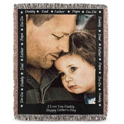 Portrait Dad Photo Blanket with Black Border