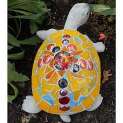 Large Mosaic Stained Glass Turtle