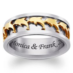 Men's Engraved Two-Tone tainless Steel Dolphin Spinner Ring
